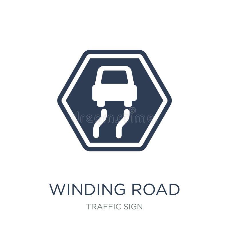 Zeichenikone der kurvenreichen Straße Modisches flaches ico Zeichen der Vektorkurvenreichen straße lizenzfreie abbildung