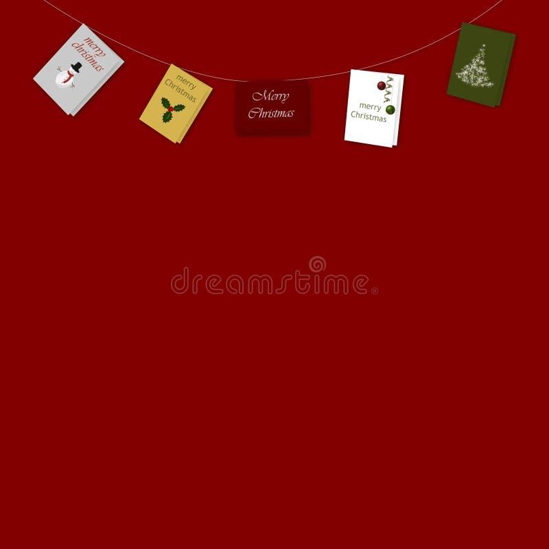 Zeichenkette der Weihnachtskarten auf Rot vektor abbildung
