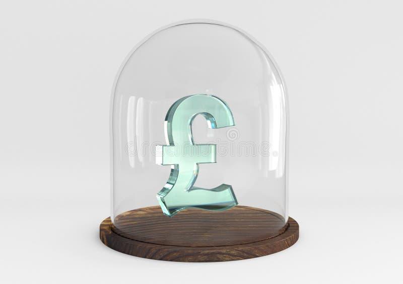 Zeichenkristall des Pfund 3D geschützt unter einer Glaskuppel lizenzfreie stockfotos