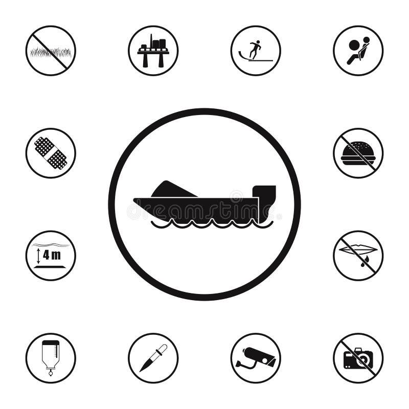 Zeichenmotorbootikone Ausführlicher Satz Warnzeichenikonen Erstklassiges Qualitätsgrafikdesignzeichen Eine der Sammlungsikonen fü stock abbildung