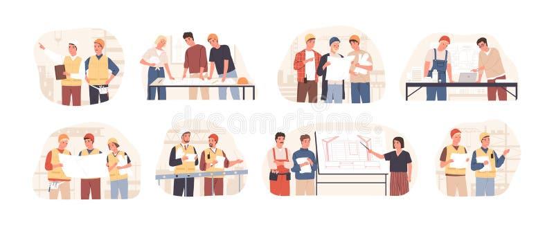 Zeichensatz für Gebäude und Architekten mit flachen Vektorgrafiken Planung, Entwicklung und Genehmigung von Architekturprojekten stock abbildung