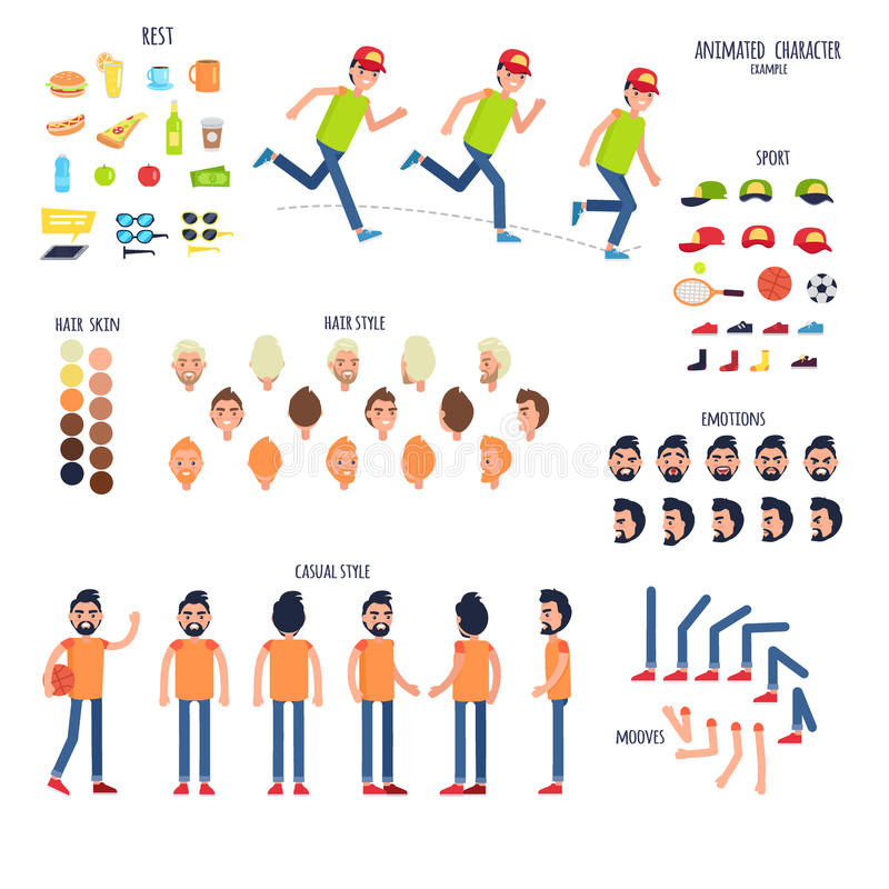Zeichensatz Mit Körperteilen Und Rest-Sachen Vektor Abbildung ...