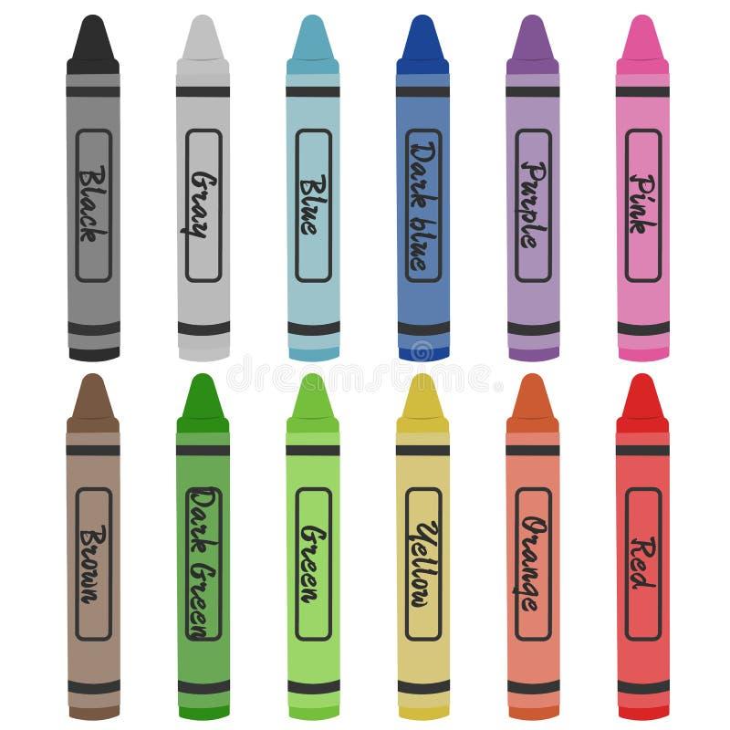 Zeichenstift-Farben lokalisiert auf weißem Hintergrund vektor abbildung