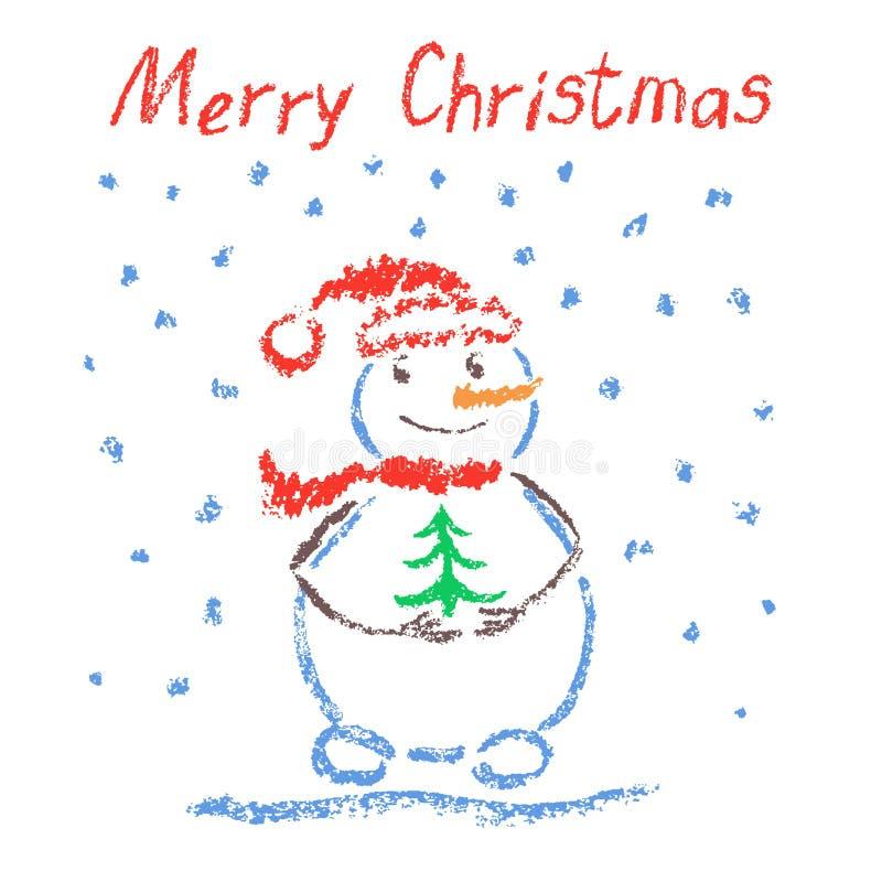 Zeichenstift mögen das Kind-` s, das lustigen lächelnden Schneemann der frohen Weihnachten mit Beschriftung, Weihnachtsbaum und f stock abbildung