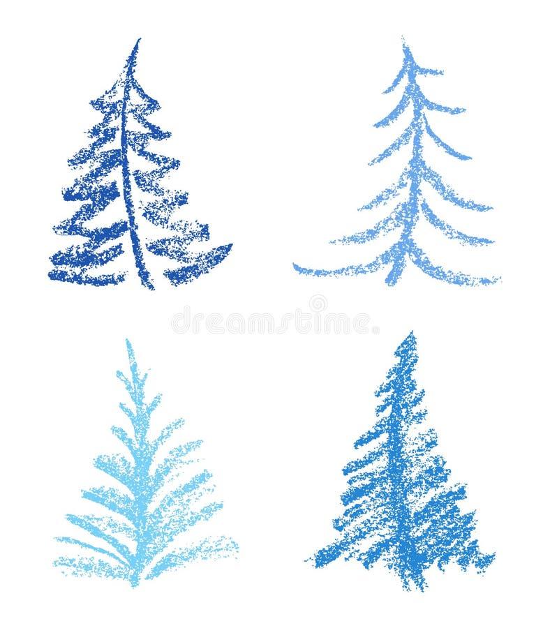 Zeichenstift wie Kind-` s Zeichnungsart des fröhlichen Weihnachtsbaumsatzes vektor abbildung