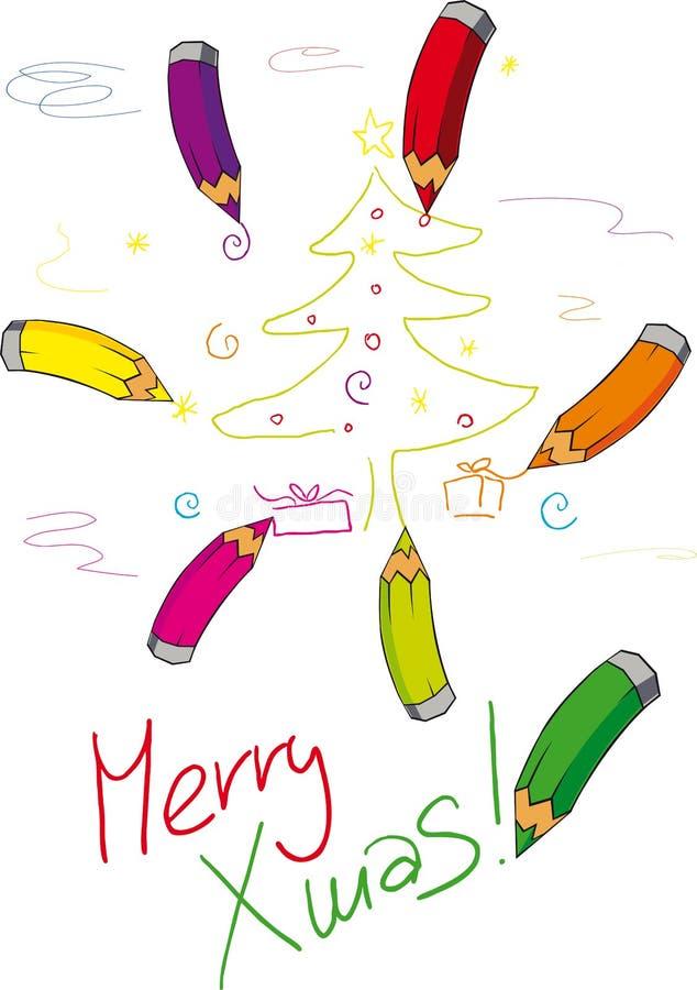 Zeichenstiftfarbe Weihnachtsbaum - Vektor vektor abbildung