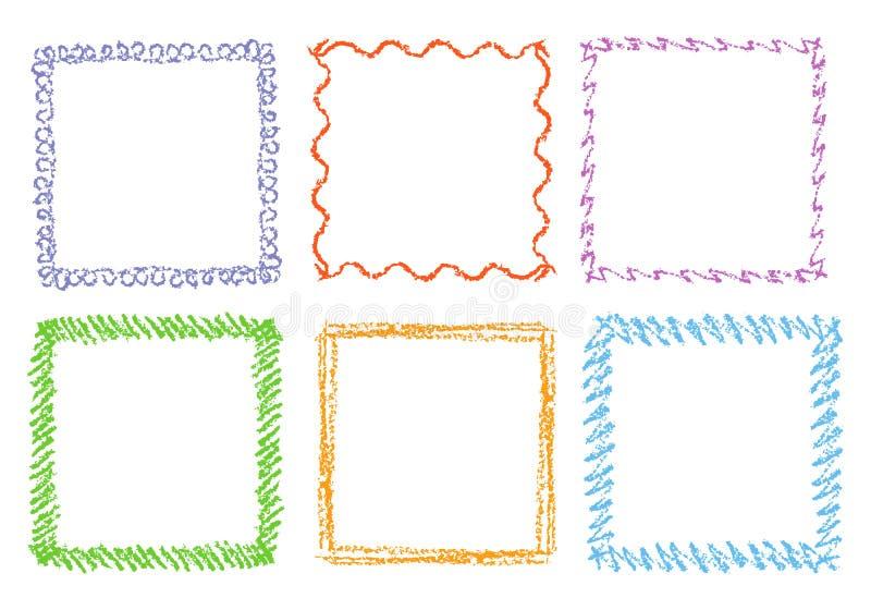 Zeichenstifthandzeichnungs-Quadratrahmen Satz bunte rechteckige aufwändige Gestaltungselementkreide oder Bleistift mögen Kind-` s lizenzfreie stockfotografie