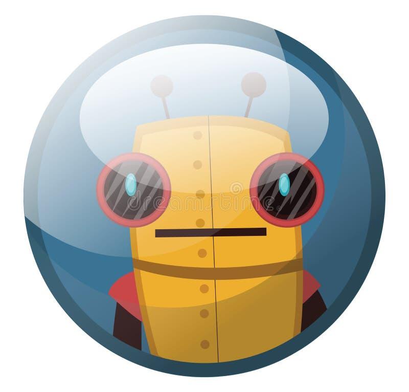 Zeichentrickfigur eines gelben Retrororoboters mit großen schwarzen Augen Vektorgrafik in hellblauen Kreis vektor abbildung