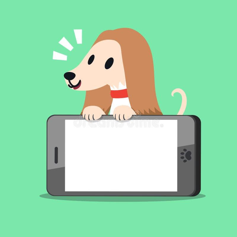 Zeichentrickfilm-Figur afghanischer Jagdhund und Smartphone lizenzfreie abbildung