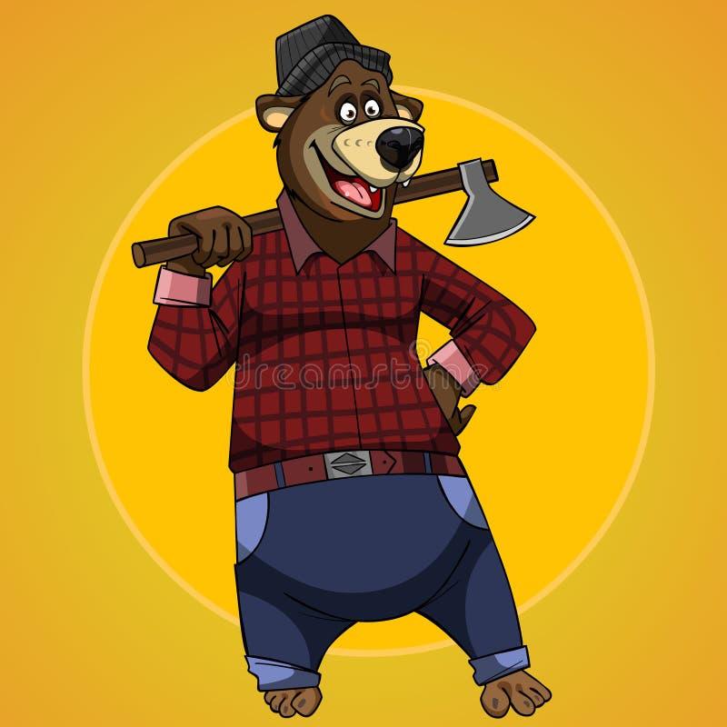 Zeichentrickfilm-Figur-Bär kleidete in der Kleidung eines Holzfällers mit einer Axt an vektor abbildung