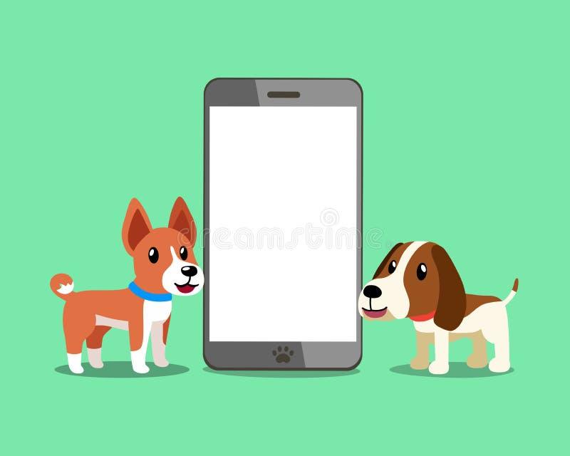 Zeichentrickfilm-Figur basenji Hund und Jagdhund mit Smartphone vektor abbildung