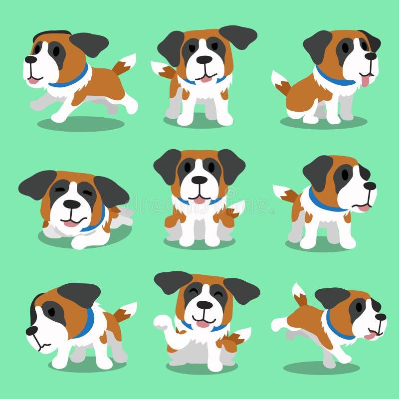 Zeichentrickfilm-Figur-Bernhardiner-Hundehaltungen vektor abbildung