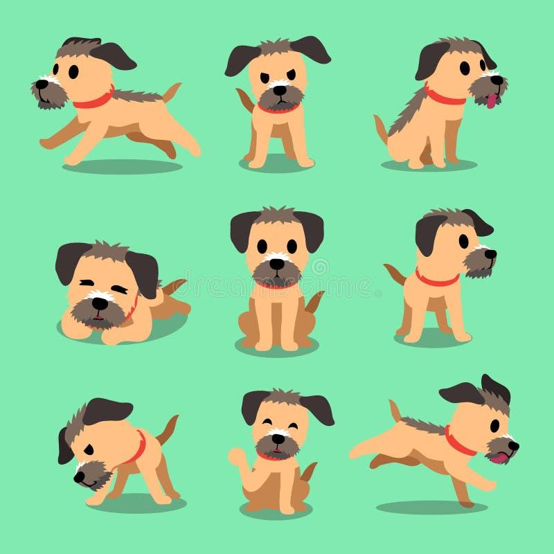 Zeichentrickfilm-Figur-Border Terrier-Hundehaltungen stock abbildung