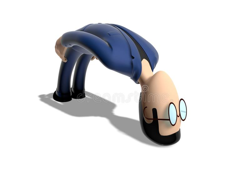 Zeichentrickfilm-Figur 3D verbogen stock abbildung