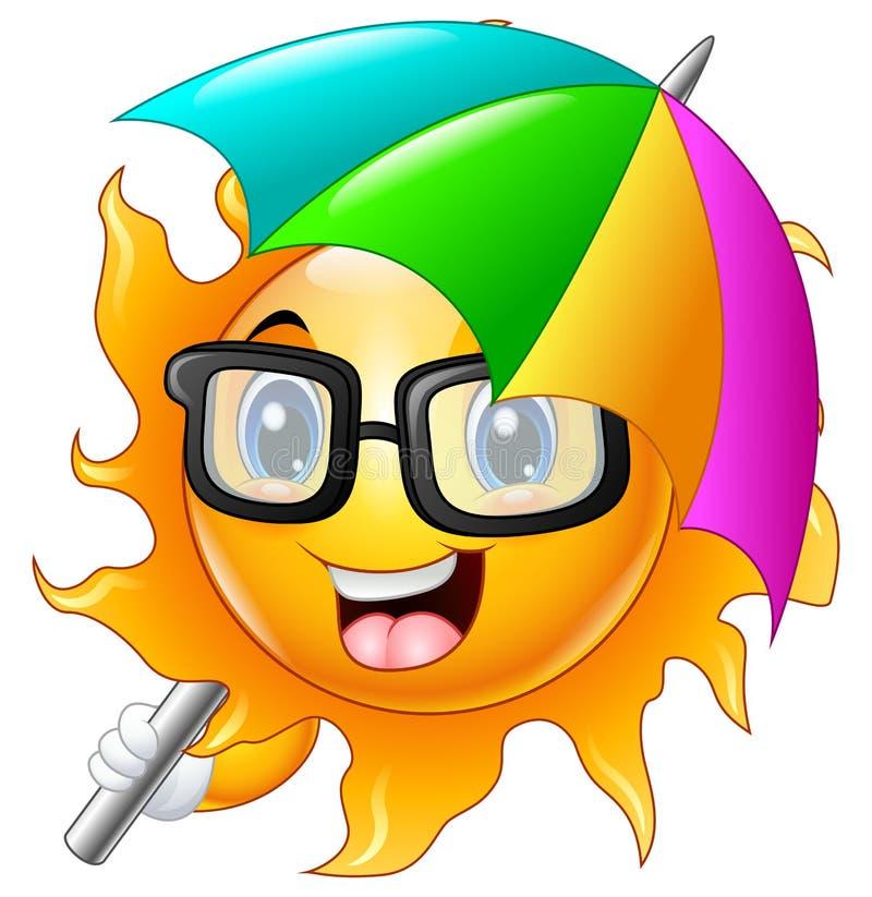 Zeichentrickfilm-Figur der Sonne in der Sonnenbrille mit Regenschirm lizenzfreie abbildung