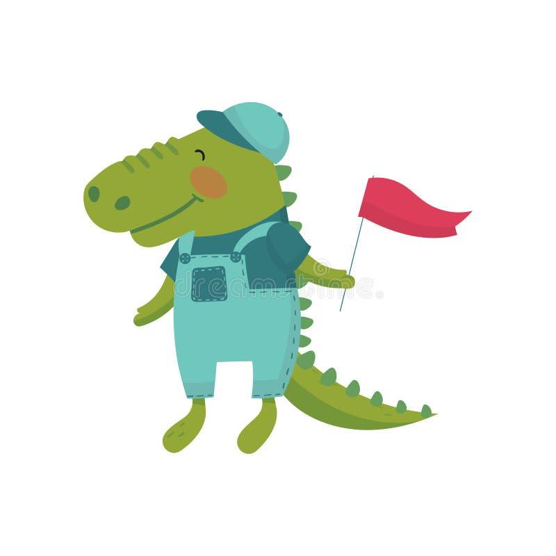 Zeichentrickfilm-Figur des Babykrokodils mit roter Fahne in der Tatze Wildes grünes Tier kleidete im blauen Overall, im T-Shirt u vektor abbildung