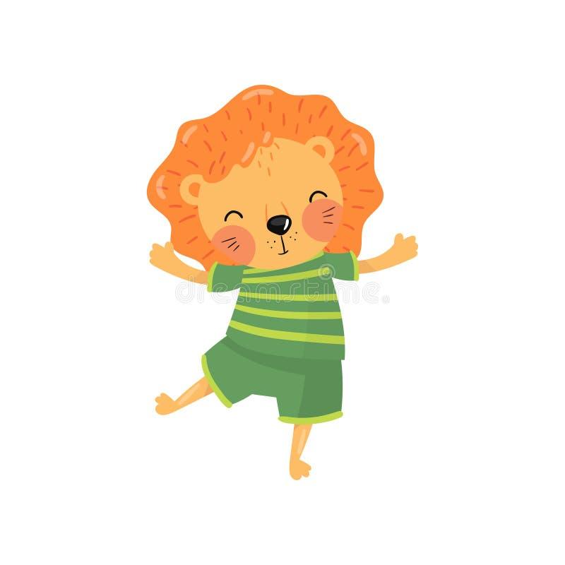 Zeichentrickfilm-Figur des Babylöwes im grünen gestreiften T-Shirt und in den kurzen Hosen Lustiges wildes Tier mit der orange Mä lizenzfreie abbildung