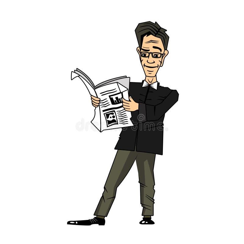 Zeichentrickfilm-Figur des gut aussehenden Mannes, welche die Zeitung liest lizenzfreie stockbilder