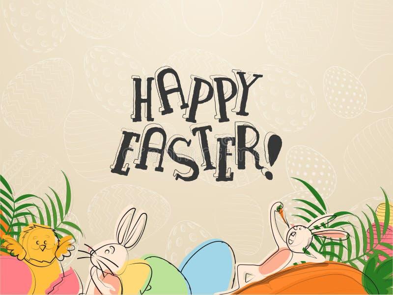 Zeichentrickfilm-Figur des Handabgehobenen betrages des netten Häschens und Karotte mit stilvollem Text von fröhlichen Ostern auf vektor abbildung