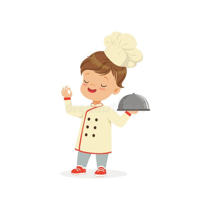 Zeichentrickfilm-Figur des Jungen in der Chefuniform und -hut Kindertraum des werdenen Chefkochers Lokalisierte flache Vektorillu lizenzfreie abbildung