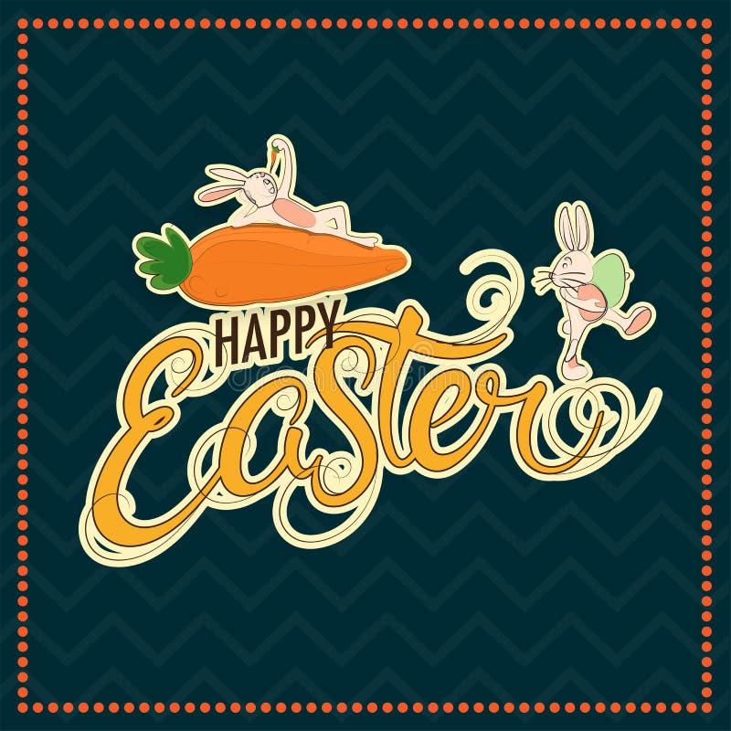 Zeichentrickfilm-Figur des netten Häschens und Karotte mit stilvollem Text von fröhlichen Ostern auf grünem Hintergrund des Retro lizenzfreie abbildung
