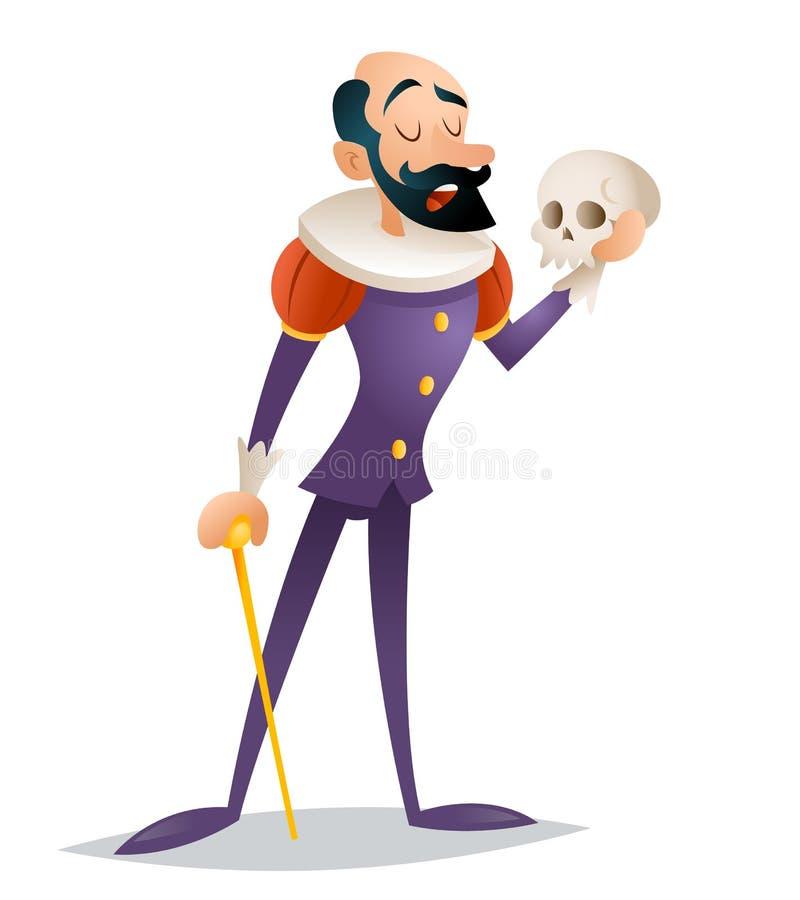 Zeichentrickfilm-Figur-Design-Vektorillustration der tragischen Klage des Schauspielertheaterstadiumsmannes mittelalterlichen Ret lizenzfreie abbildung