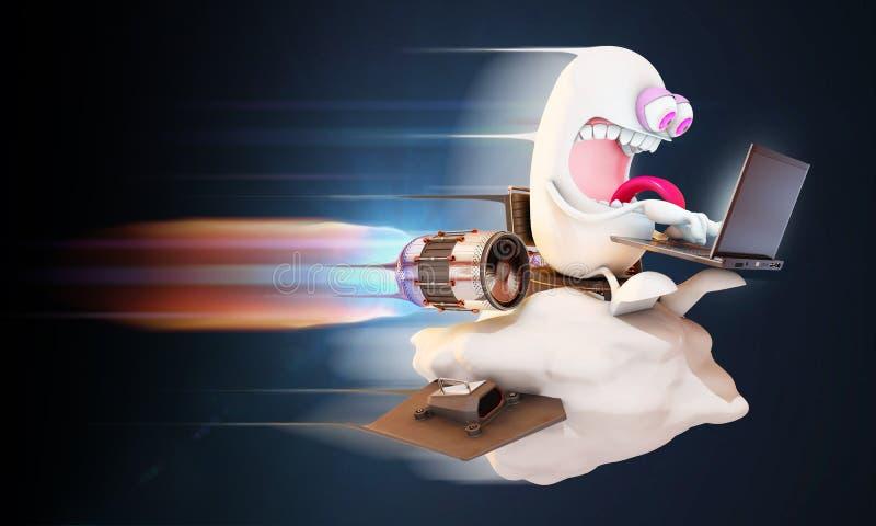 Zeichentrickfilm-Figur, die das Netz an der hohen Geschwindigkeit auf einer Wolke surft lizenzfreie abbildung