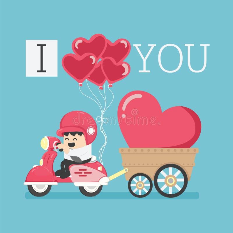 Zeichentrickfilm-Figur, die ein Motorrad mit einem Symbol des gro?en Herzens mit der Mitteilung ich liebe dich f?hrt lizenzfreie abbildung