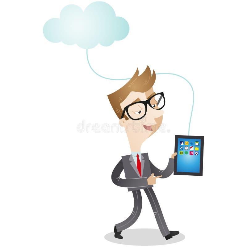 Zeichentrickfilm-Figur: Geschäftsmann mit Tablette und Clo stock abbildung