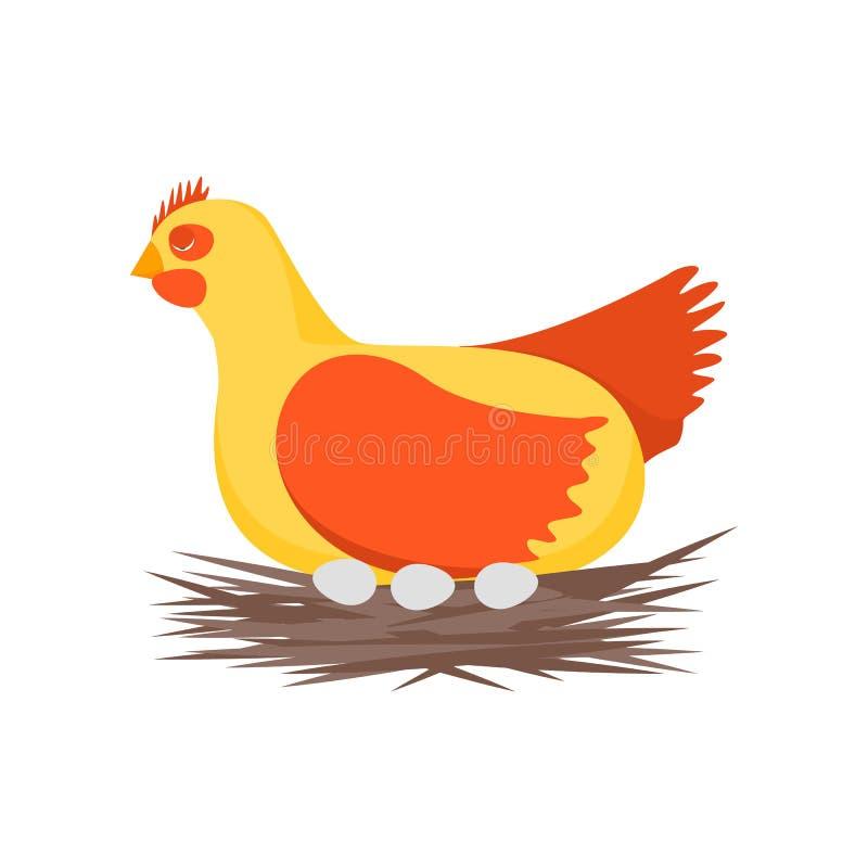 Zeichentrickfilm-Figur-glücklicher Hennen-und Nest-Vektor vektor abbildung