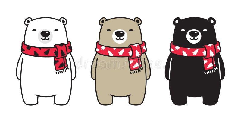 Zeichentrickfilm-Figur-Ikonenlogo-Illustrationsgekritzel Bärnvektoreisbär Weihnachtsbaum-Schal Weihnachten Santa Claus vektor abbildung