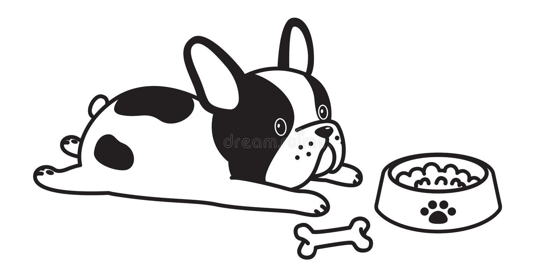Zeichentrickfilm-Figur-Illustrationslogoikonen-Hundeknochen-Bogenweiß der französischen Bulldogge des Hundevektors lizenzfreie abbildung