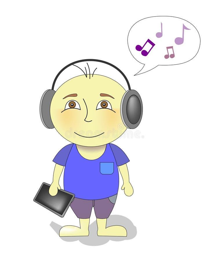Zeichentrickfilm-Figur-Junge, der Musik hört lizenzfreie abbildung