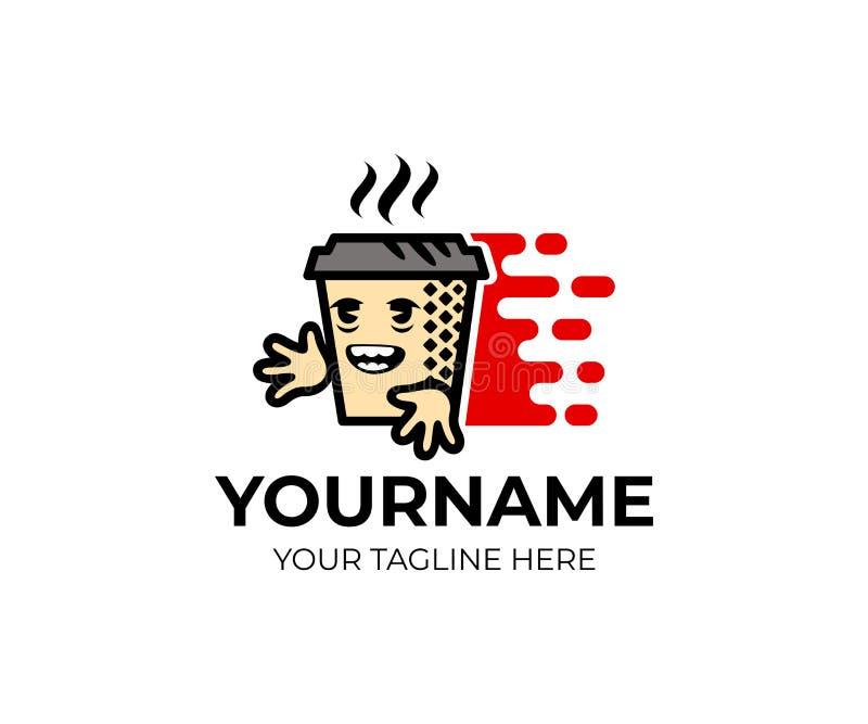 Zeichentrickfilm-Figur-Kaffee, Tee in einer Papierschale und schnelle Lieferung, Logoschablone Kaffeestube, Cafeteria und Lieferu stock abbildung