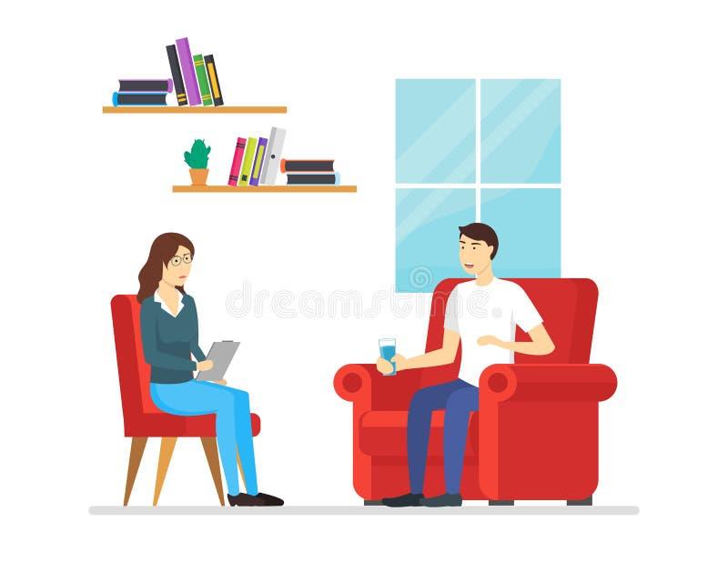 Zeichentrickfilm-Figur-Leute-Psychotherapie, die Szene berät Vektor stock abbildung