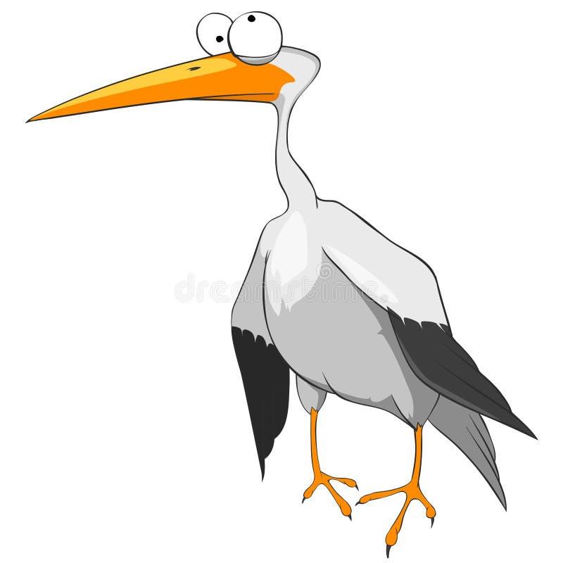 Zeichentrickfilm-Figur-lustiger Storch lizenzfreie abbildung