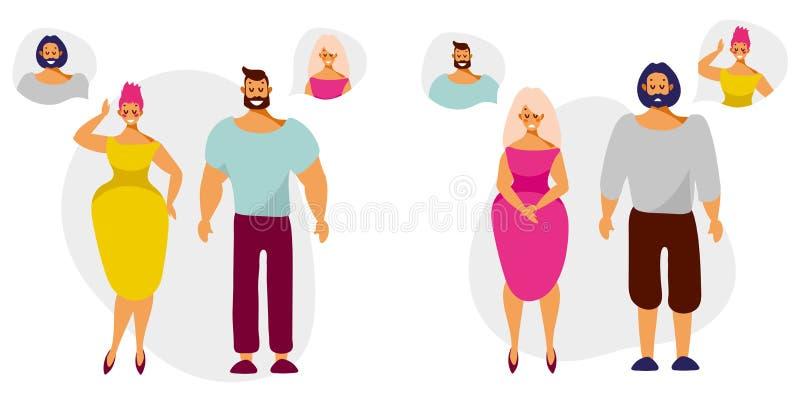 Zeichentrickfilm-Figur-Männer und -frauen denken und träumen von einander stock abbildung