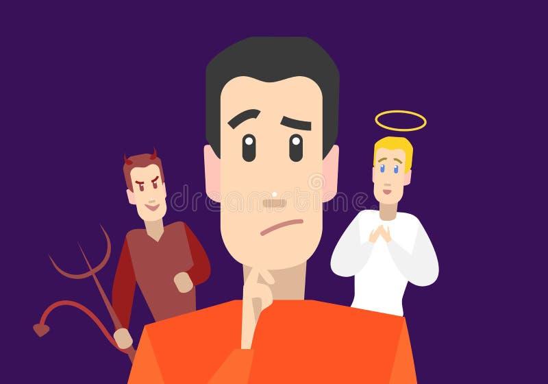 Zeichentrickfilm-Figur-Mann mit Engel und Teufel auf Schultern Vektor stock abbildung
