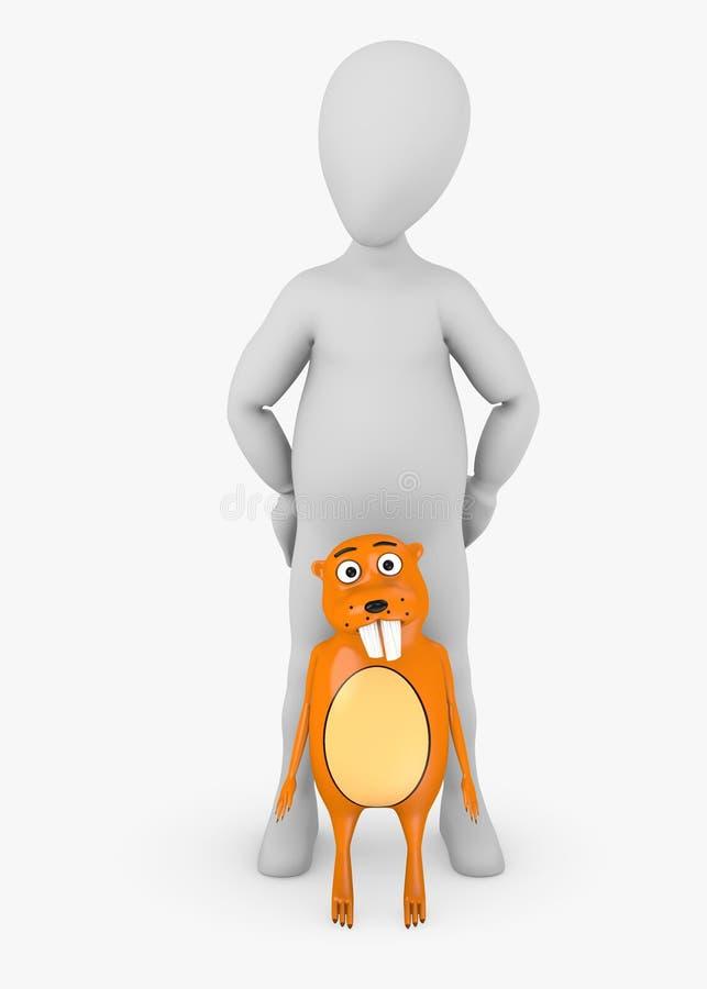 Zeichentrickfilm-Figur mit Biber stock abbildung