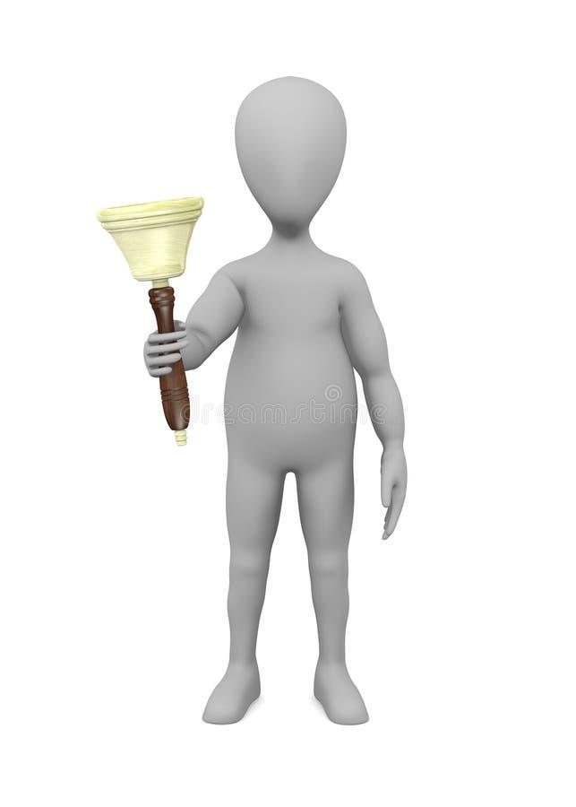 Zeichentrickfilm-Figur mit Glocke in der Hand - schellend lizenzfreie abbildung