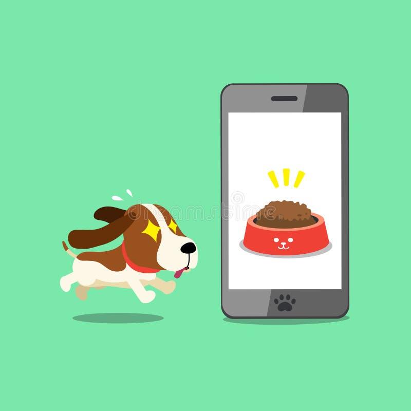 Zeichentrickfilm-Figur netter Jagdhund und Smartphone stock abbildung