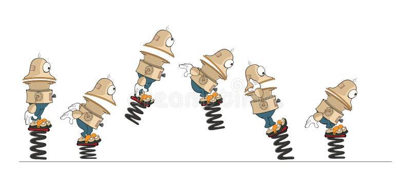 Zeichentrickfilm-Figur-netter Roboter für eine Computer-Spiel-gesetzte Illustration storyboard vektor abbildung