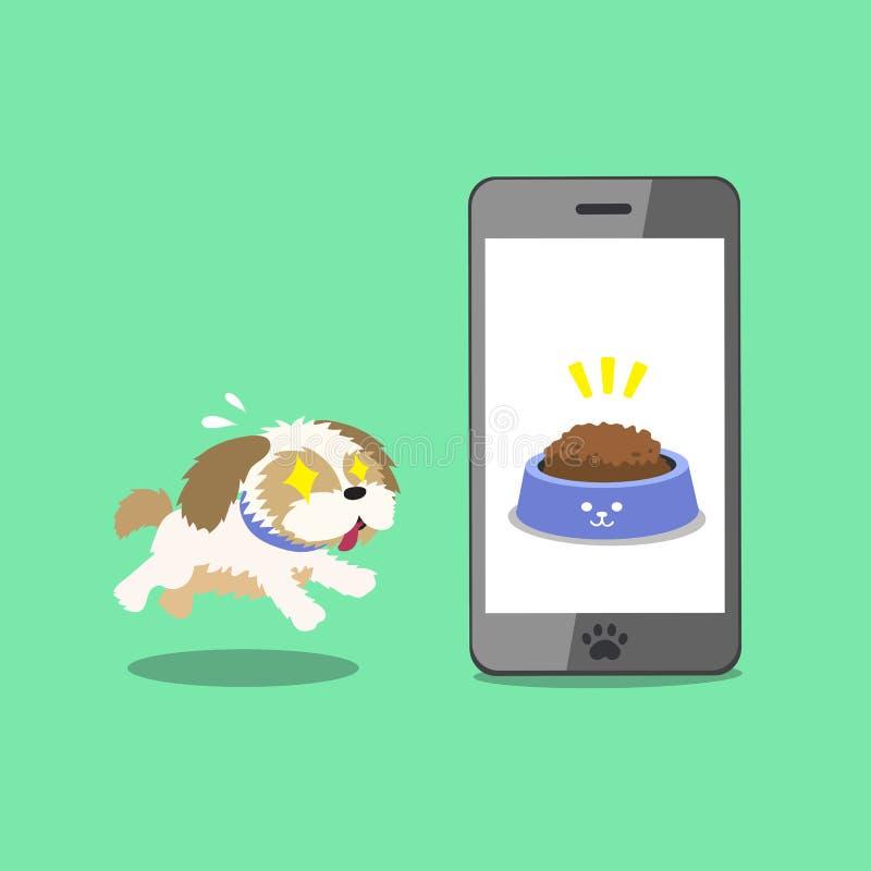Zeichentrickfilm-Figur netter shih tzu Hund und Smartphone stock abbildung