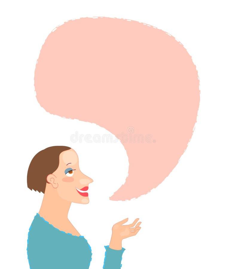 Zeichentrickfilm-Figur-Porträt der jungen Frau mit Spracheblase vektor abbildung
