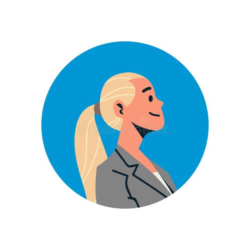 Zeichentrickfilm-Figur-Porträt des Beistandsservices des blonden Geschäftsfrauavatarafrauengesichtsprofilikonenkonzeptes on-line- lizenzfreie abbildung