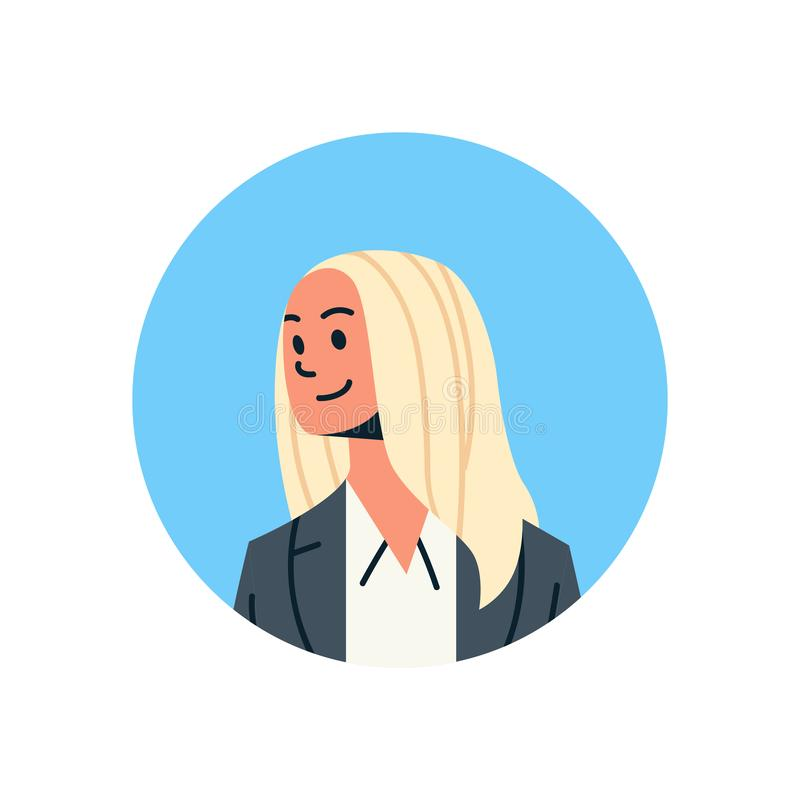 Zeichentrickfilm-Figur-Porträt des Beistandsservices des blonden Geschäftsfrauavatarafrauengesichtsprofilikonenkonzeptes on-line- stock abbildung