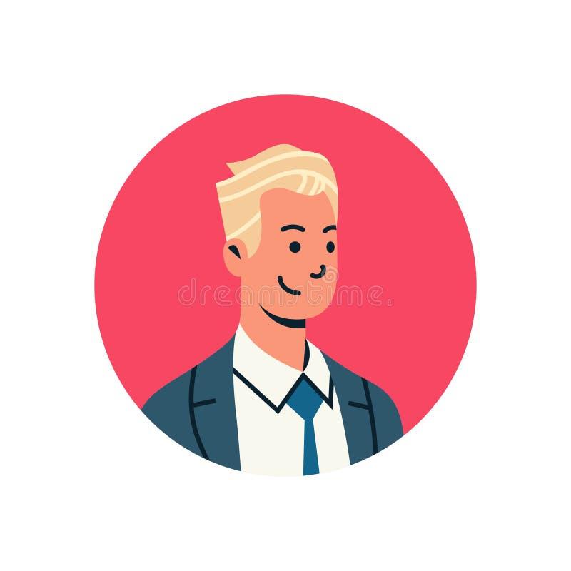 Zeichentrickfilm-Figur-Porträt des Beistandsservices des blonden Geschäftsmannavataramanngesichtsprofilikonenkonzeptes on-line-mä lizenzfreie abbildung