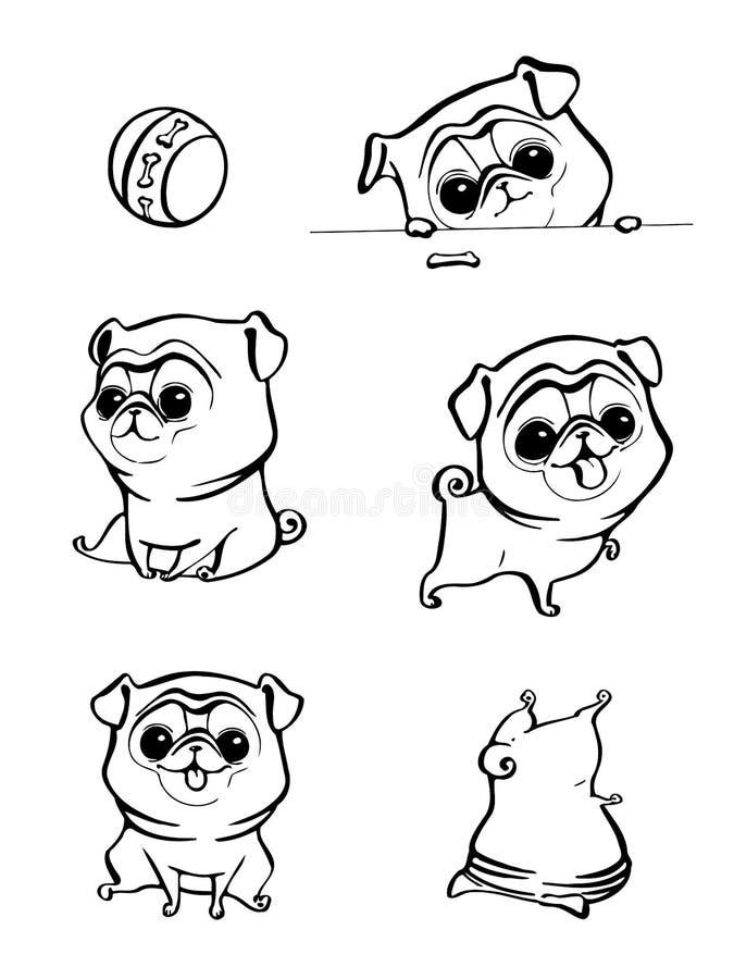 Zeichentrickfilm-Figur Pug-Hundehaltungen Netter Schoßhund in der flachen Art Stellen Sie Hunde ein Netter Hund von Pugzucht Vekt vektor abbildung
