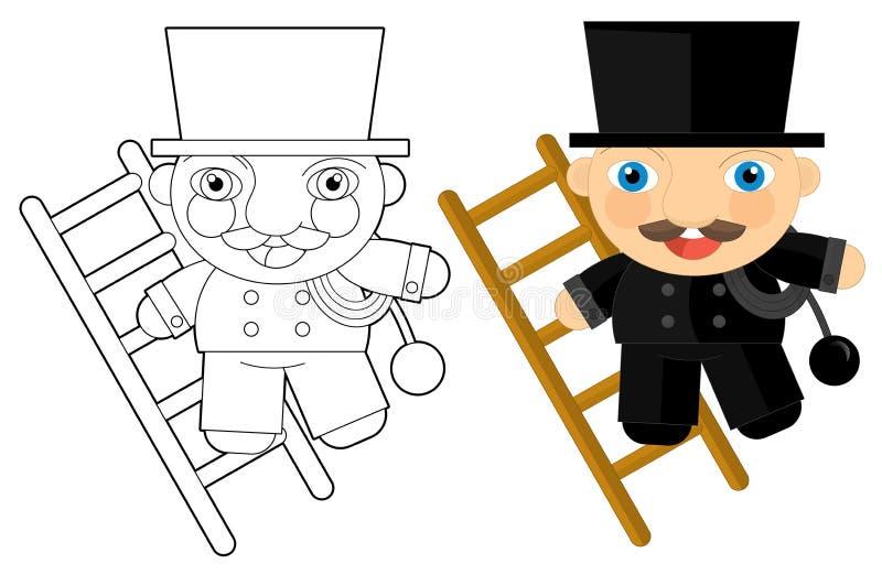 Zeichentrickfilm-Figur - Schornsteinfeger - Farbtonseite vektor abbildung
