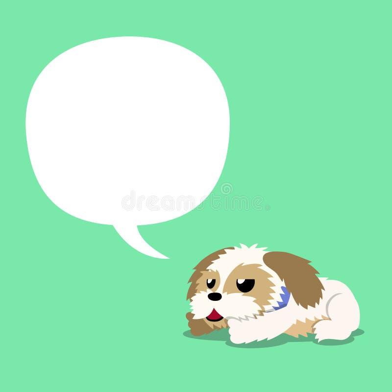 Zeichentrickfilm-Figur shih tzu Hund mit weißer Spracheblase lizenzfreie abbildung